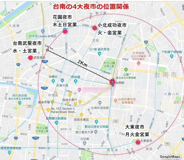 台南4大夜市の位置関係